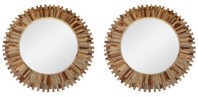 Wood Sunburst Mirrors, Pair