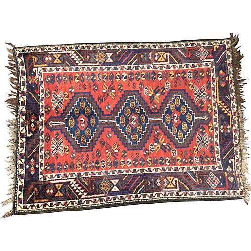 """Antique Persian Rug, 3'8"""" x 4'10"""""""