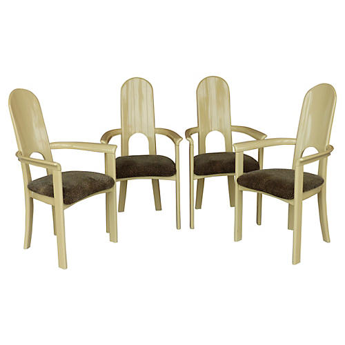 Italian Lacquered Wood Armchairs, S/4