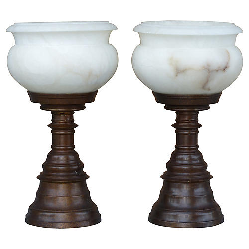 Bronze & Alabaster Torchiere Lamps, S/2
