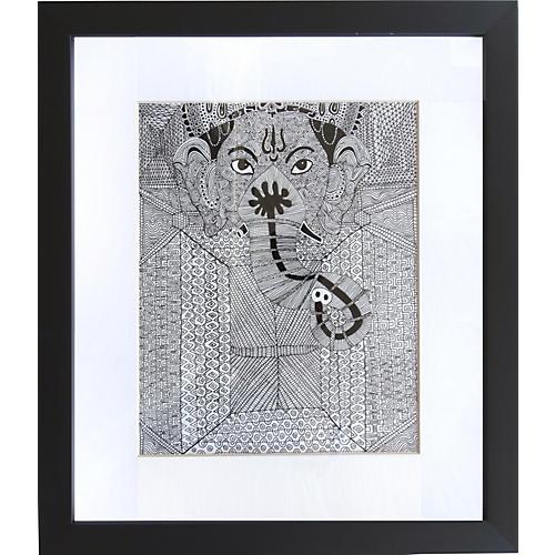 Pen & Ink Ganesh by Alejandro Stein