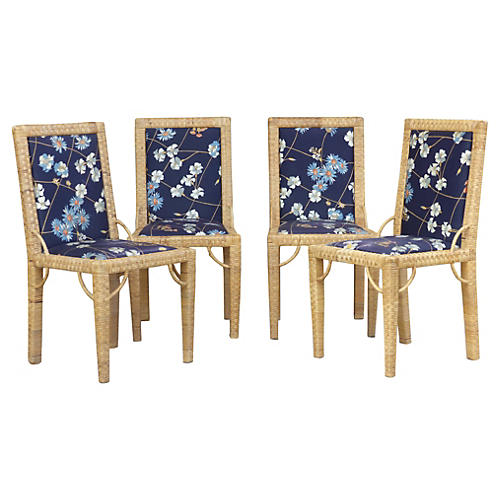 Rattan Dining Chairs, S/4