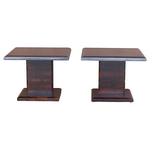 Rosewood Side Tables w/ Steel Trim, Pair
