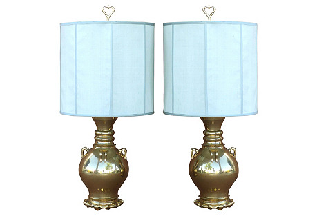 Marbro Brass Vessel Lamps, Pair