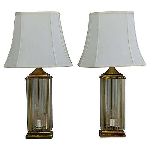 Brass & Glass Rod Lamps, Pair