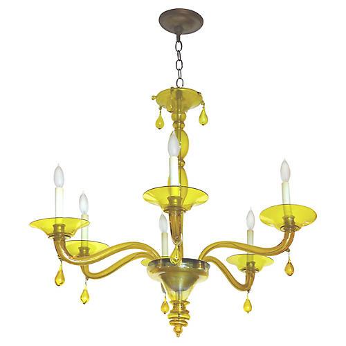 Yellow Murano Glass 6-Light Chandelier