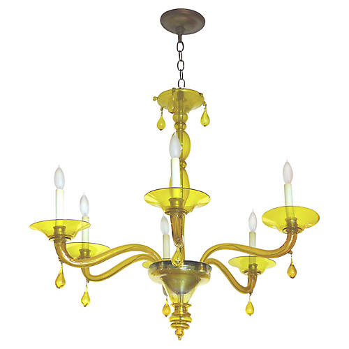 Yellow Murano Glass 6-Light Chandelier
