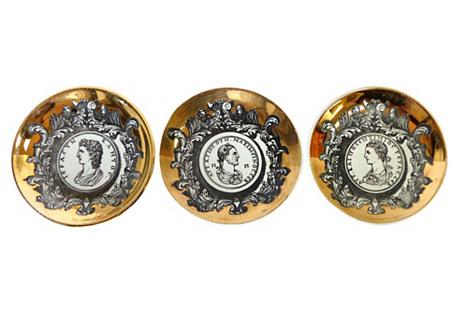 Fornasetti Gilt Roman Coin Coasters, S/3