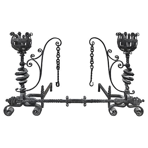 19th-C. Ornate Hand-Forged Andiron Set