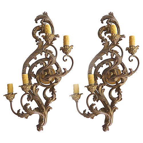 Antique Carved Giltwood Sconces, Pair