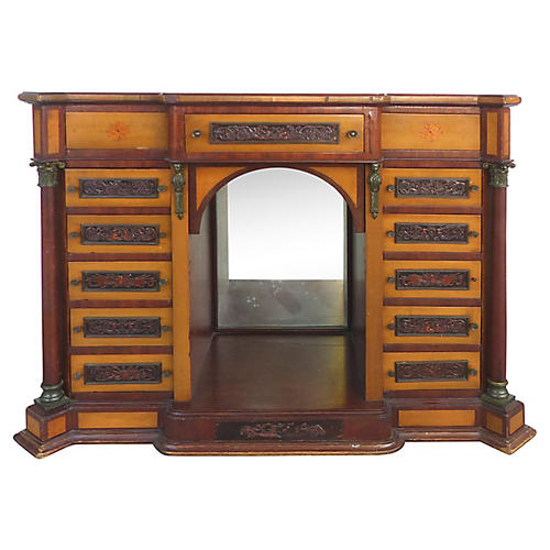 19th-C. Drawer Table Top Cabinet