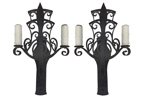 Art Deco Scrolled Iron Wall Sconces, Pr.
