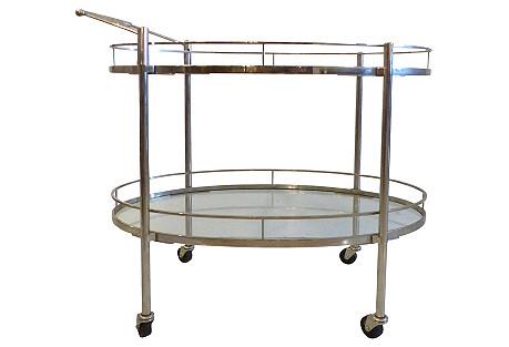 Oval Midcentury Chrome Bar Cart