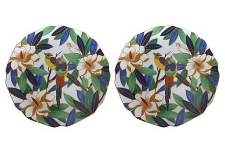 Takahashi Tropical Bird Plates, Pair