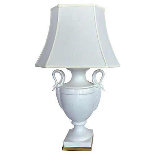 Paul Hanson Table Lamp w/ Swan Handles