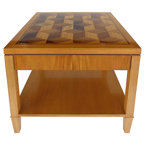 Baker Inlaid Geometric Design Side Table
