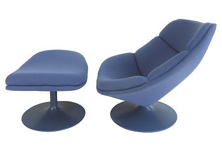 Geoffrey Harcourt Chair & Ottoman
