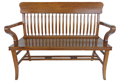 Early-20th-C. Spindle-Back Bench