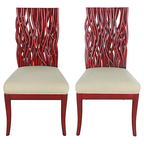 Red Bent Rattan & Mahogany Chairs, Pair