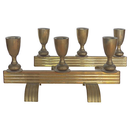 Art Deco-Style Bronze Candlesticks, Pair