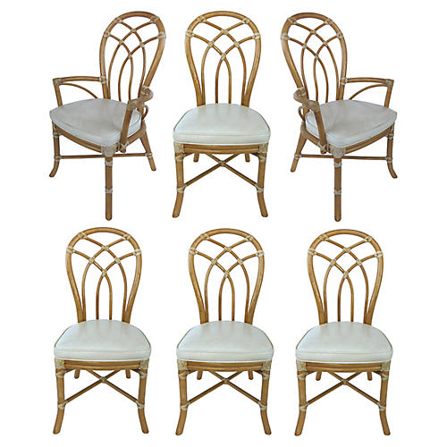 McGuire Rattan Dining Chairs, S/6