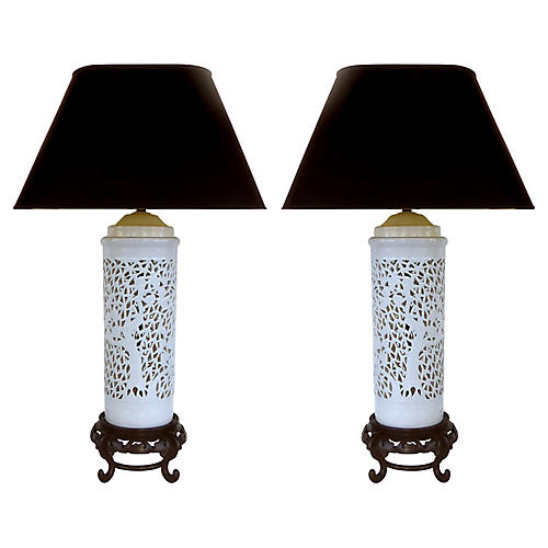 Asian Table Lamps, Pair
