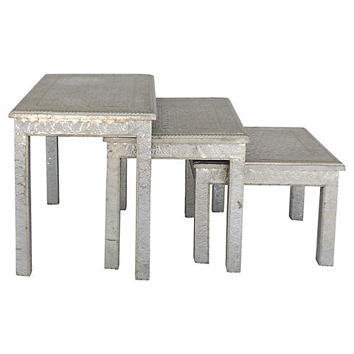 Moroccan Metal-Clad Nesting Tables, S/3