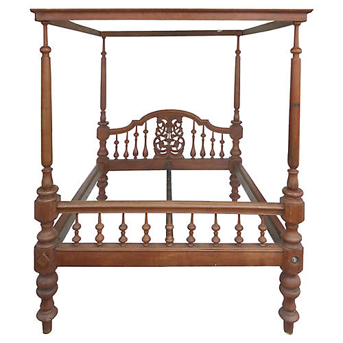 British Colonial Teak Four Poster Bed