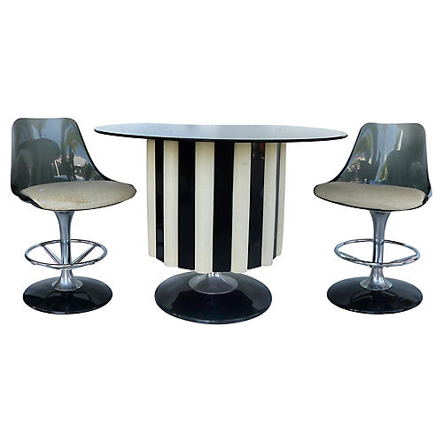 1970s Chromecraft Bar & 2 Stools