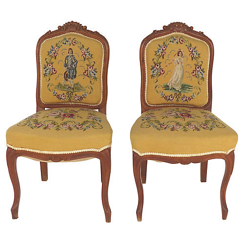 Needlepoint Side Chairs, S/2