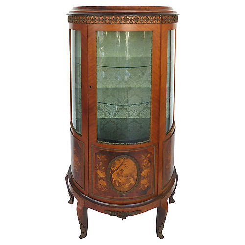 Italian Curved Marquetry Cabinet