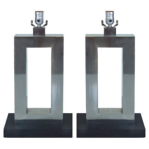 Stainless Steel Table Lamps, S/2