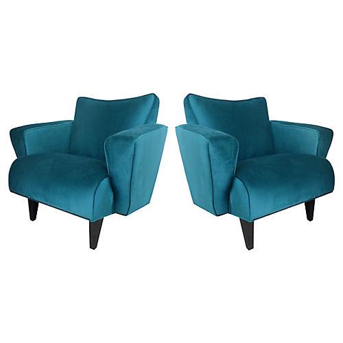 Thayer Coggin Velvet Club Chairs, Pair