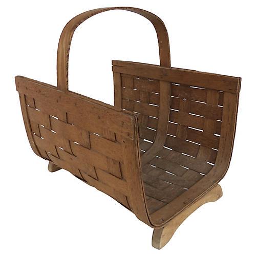 Woven Wood Magazine Basket w/ Handle
