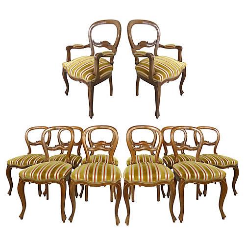 Walnut Balloon-Back Chairs, S/12