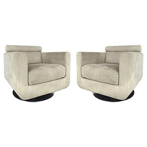 Natuzzi Salotti Swivel Club Chairs, Pair