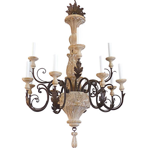 12-Light Wood & Iron Chandelier