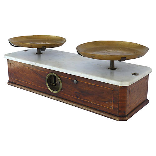 19th-C. French Brass & Marble Scale