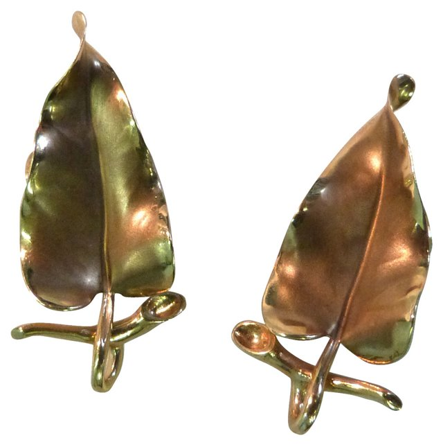 14K Gold Leaf Form Earrings
