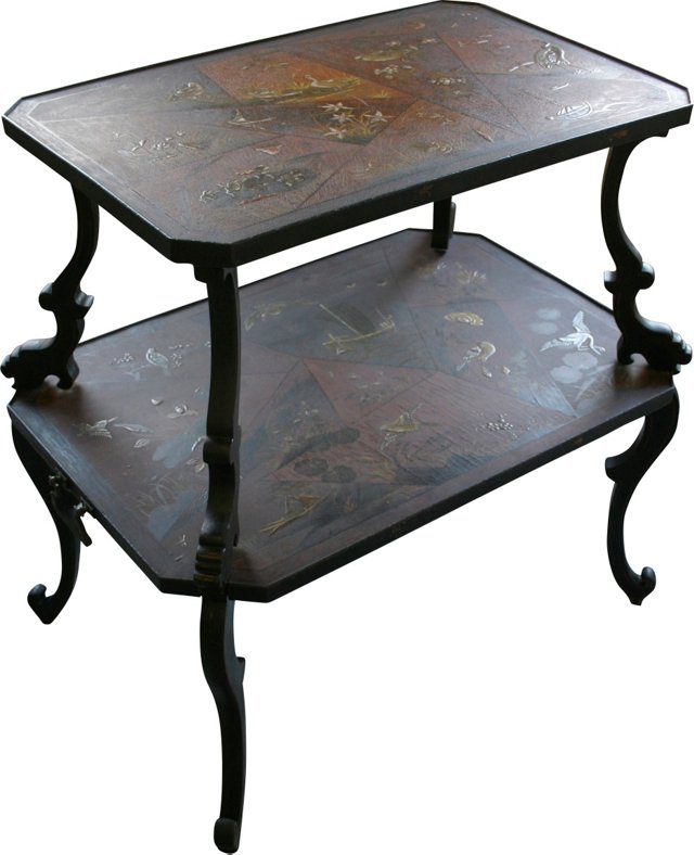 2-Tier Chinoiserie Table