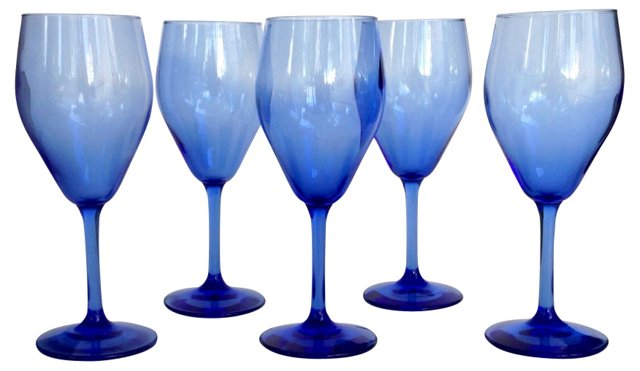 Blue Wine Glasses, Set of 5