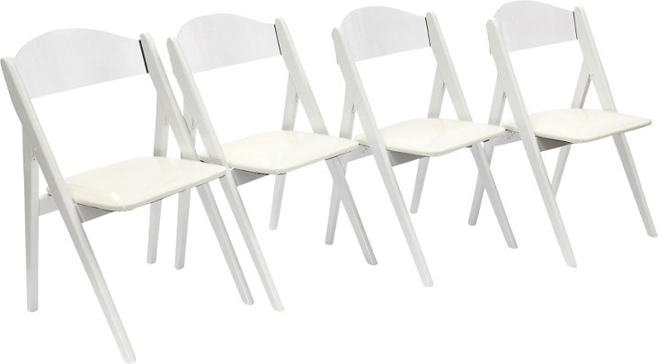 Lucite & Wood Folding Chairs, Set of 4