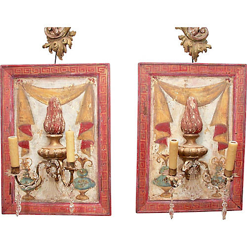 18th-C. Italian Fragment Sconces, Pair