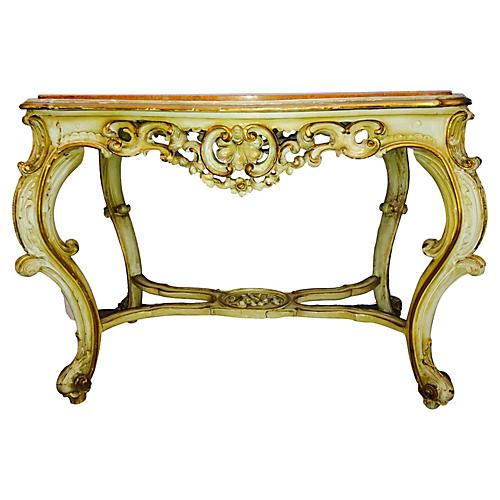 Italian Rococo-Style Marble-Top Console