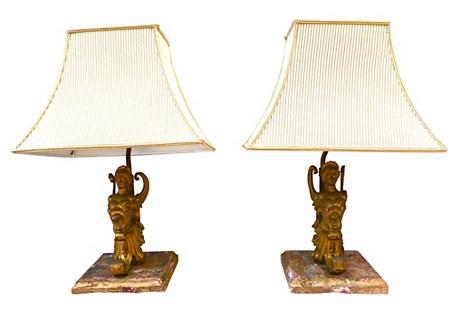 Winged Nike Lamps, Pair