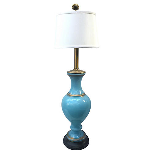 Italian Blue Glass Table Lamp