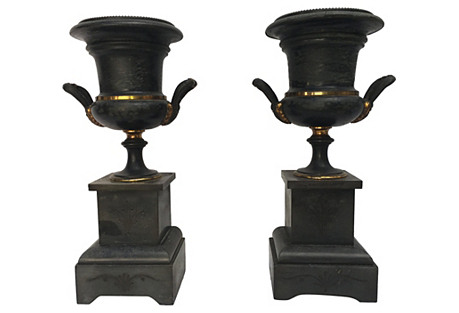 1920s French Marble Urns, Pair
