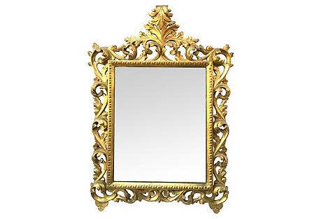1940s Italian Carved Giltwood Mirror