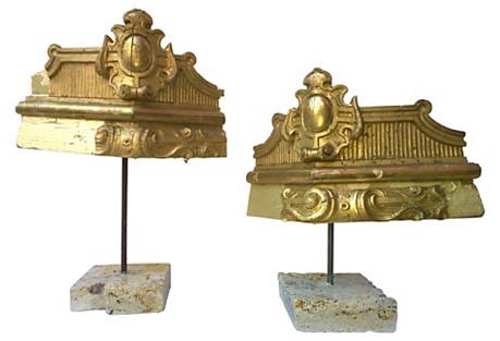 19th-C Italian Gilt Fragments, Pair