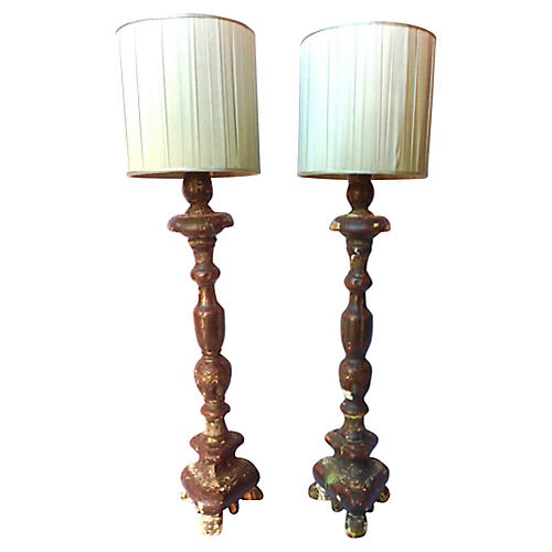 19th-C. Italian Candlestick Lamps, Pair